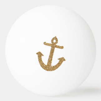 Gold Glitter Anchor Ping Pong Ball