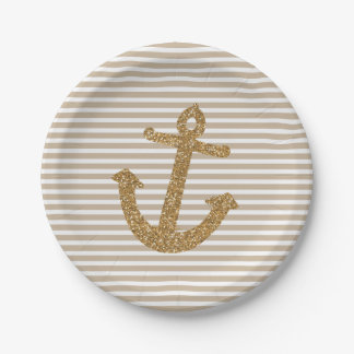 Gold Glitter Anchor Stripes Paper Plate