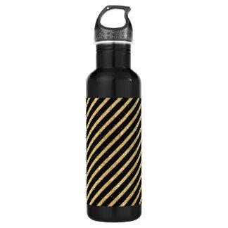 Gold Glitter and Black Diagonal Stripes Pattern 710 Ml Water Bottle