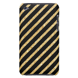Gold Glitter and Black Diagonal Stripes Pattern Barely There iPod Case