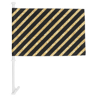 Gold Glitter and Black Diagonal Stripes Pattern Car Flag