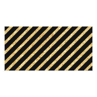 Gold Glitter and Black Diagonal Stripes Pattern Card