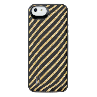 Gold Glitter and Black Diagonal Stripes Pattern iPhone SE/5/5s Battery Case