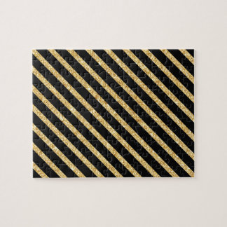Gold Glitter and Black Diagonal Stripes Pattern Jigsaw Puzzle