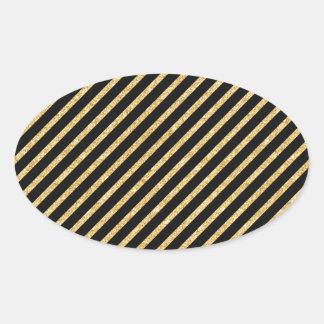 Gold Glitter and Black Diagonal Stripes Pattern Oval Sticker