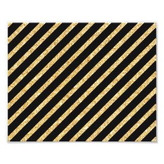 Gold Glitter and Black Diagonal Stripes Pattern Photo