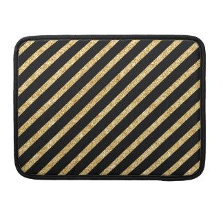 Gold Glitter and Black Diagonal Stripes Pattern Sleeve For MacBooks