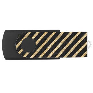 Gold Glitter and Black Diagonal Stripes Pattern USB Flash Drive