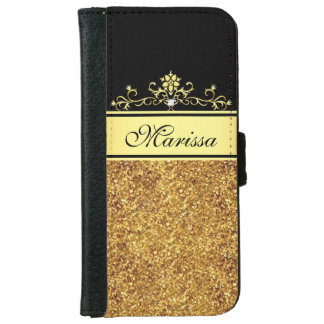 Gold Glitter and Black iPhone 6 Wallet Case