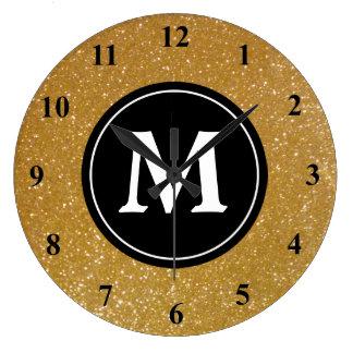 Gold glitter and black monogram wall clock