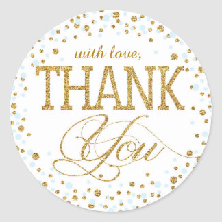 Gold Glitter and Blue Sprinkle Thank You Label Round Sticker