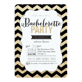 Gold Glitter and Chevron Bachelorette Invitation