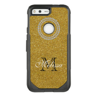 Gold Glitter and Diamonds, Your Name and Initial OtterBox Commuter Google Pixel Case