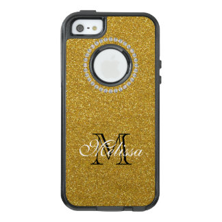 Gold Glitter and Diamonds, Your Name and Initial OtterBox iPhone 5/5s/SE Case