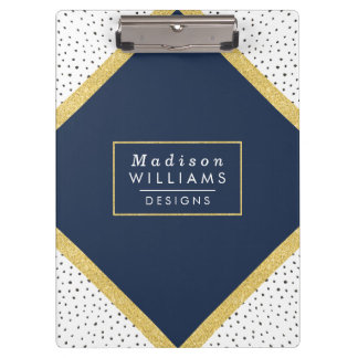 Gold Glitter and Dots | Clipboard in navy