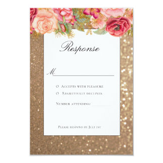 Gold glitter and floral wedding rsvp card