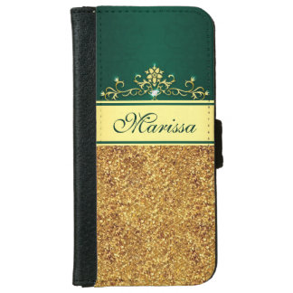 Gold Glitter and Green iPhone 6 Wallet Case