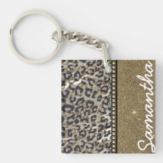 Gold Glitter and Leopard Monogram Single-Sided Square Acrylic Key Ring