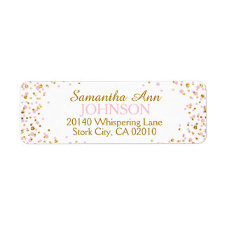 Gold Glitter and Pink Dot Sprinkles Return Address Label