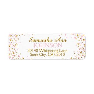 Gold Glitter and Pink Dot Sprinkles Return Address Label