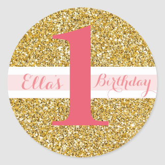 Gold Glitter and Pink First Birthday Stickers