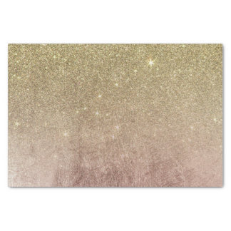 Gold Glitter and Pink Rose Gold Foil Mesh Tissue Paper