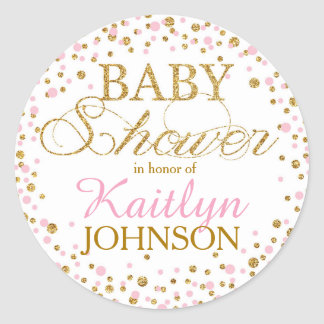 Gold Glitter and Pink Sprinkle Baby Shower Label Round Sticker