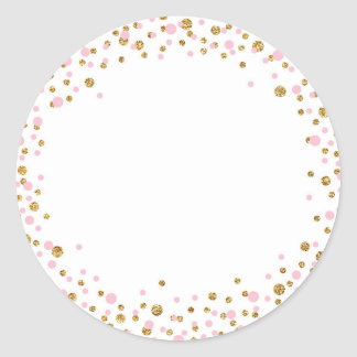 Gold Glitter and Pink Sprinkle Label Round Sticker