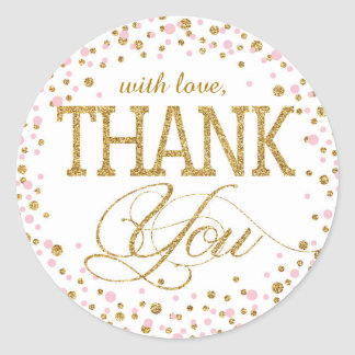 Gold Glitter and Pink Sprinkle Thank You Label
