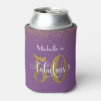 Gold Glitter and Purple 50 & Fabulous Birthday Can Cooler