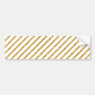 Gold Glitter and White Diagonal Stripes Pattern Bumper Sticker