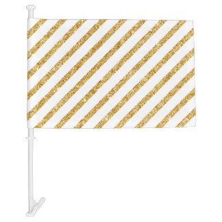 Gold Glitter and White Diagonal Stripes Pattern Car Flag