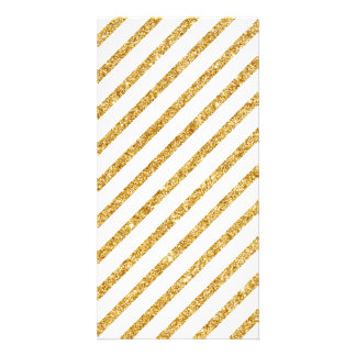 Gold Glitter and White Diagonal Stripes Pattern Card