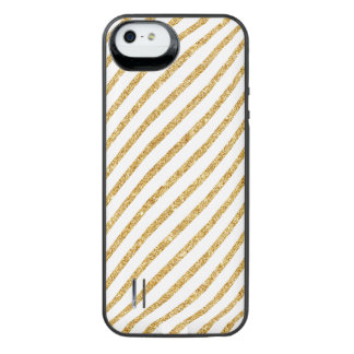 Gold Glitter and White Diagonal Stripes Pattern iPhone SE/5/5s Battery Case