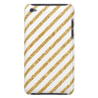 Gold Glitter and White Diagonal Stripes Pattern iPod Touch Cases