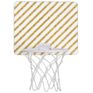 Gold Glitter and White Diagonal Stripes Pattern Mini Basketball Hoop