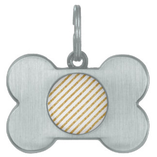 Gold Glitter and White Diagonal Stripes Pattern Pet Tag