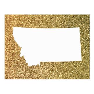 Gold Glitter and White Montana Postcard
