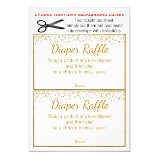 Gold Glitter Any Color Diaper Raffle Tickets Card
