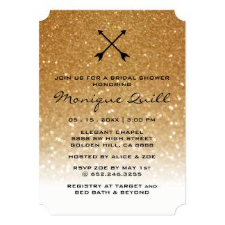 Gold Glitter Arrows Glam Wedding Bridal Invitation