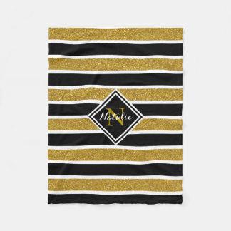 Gold Glitter B&W Stripes w/ Name & Monogram Fleece Blanket