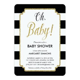 Gold Glitter Baby Shower Invitation, Black & Gold 13 Cm X 18 Cm Invitation Card