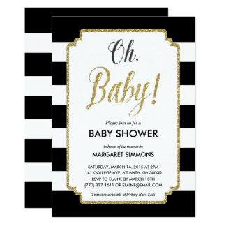 Gold Glitter Baby Shower Invitation, Black & Gold Card