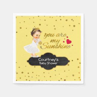 Gold Glitter Baby Shower | Princess Sunshine Song Disposable Serviette