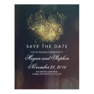 Gold Glitter Baby's Breath Floral Save the Date Postcard
