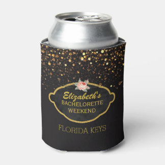 Gold Glitter Bachelorette Party Floral Rose Can Cooler