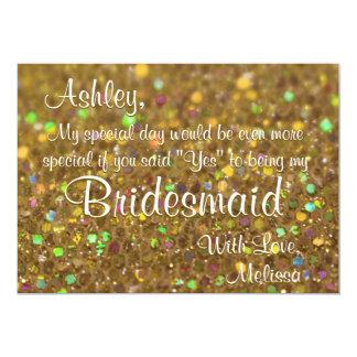 Gold Glitter Be My Bridesmaid 13 Cm X 18 Cm Invitation Card