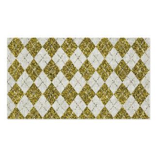 Gold Glitter Beige Linen Argyle Pattern Business Card Templates