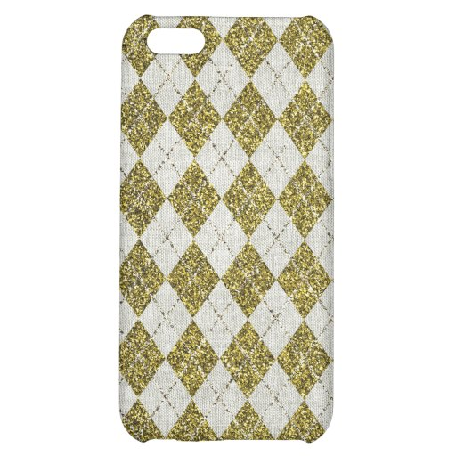 Gold Glitter Beige Linen Argyle Pattern Cover For iPhone 5C
