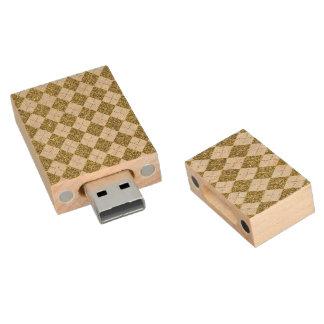 Gold Glitter Beige Linen Argyle Pattern Wood USB 2.0 Flash Drive
